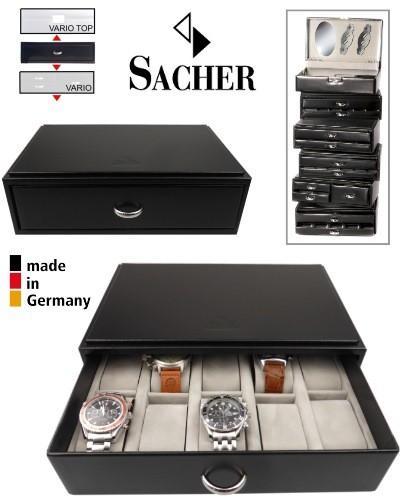 Caixa SACHER VARIO empilhável e expansível para 10 relógios
