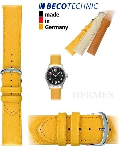 Pulseira de couro HERMES amarela aço 12mm