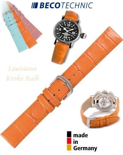 Pulseira de couro LOUISIANA croco laranja 12mm